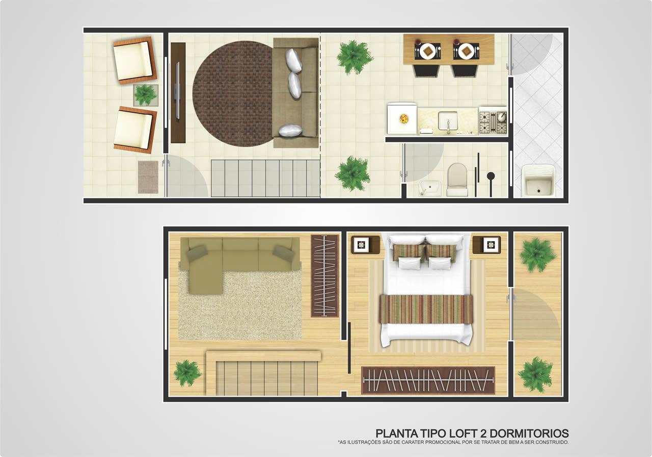 Planta de Apartamento tipo Loft